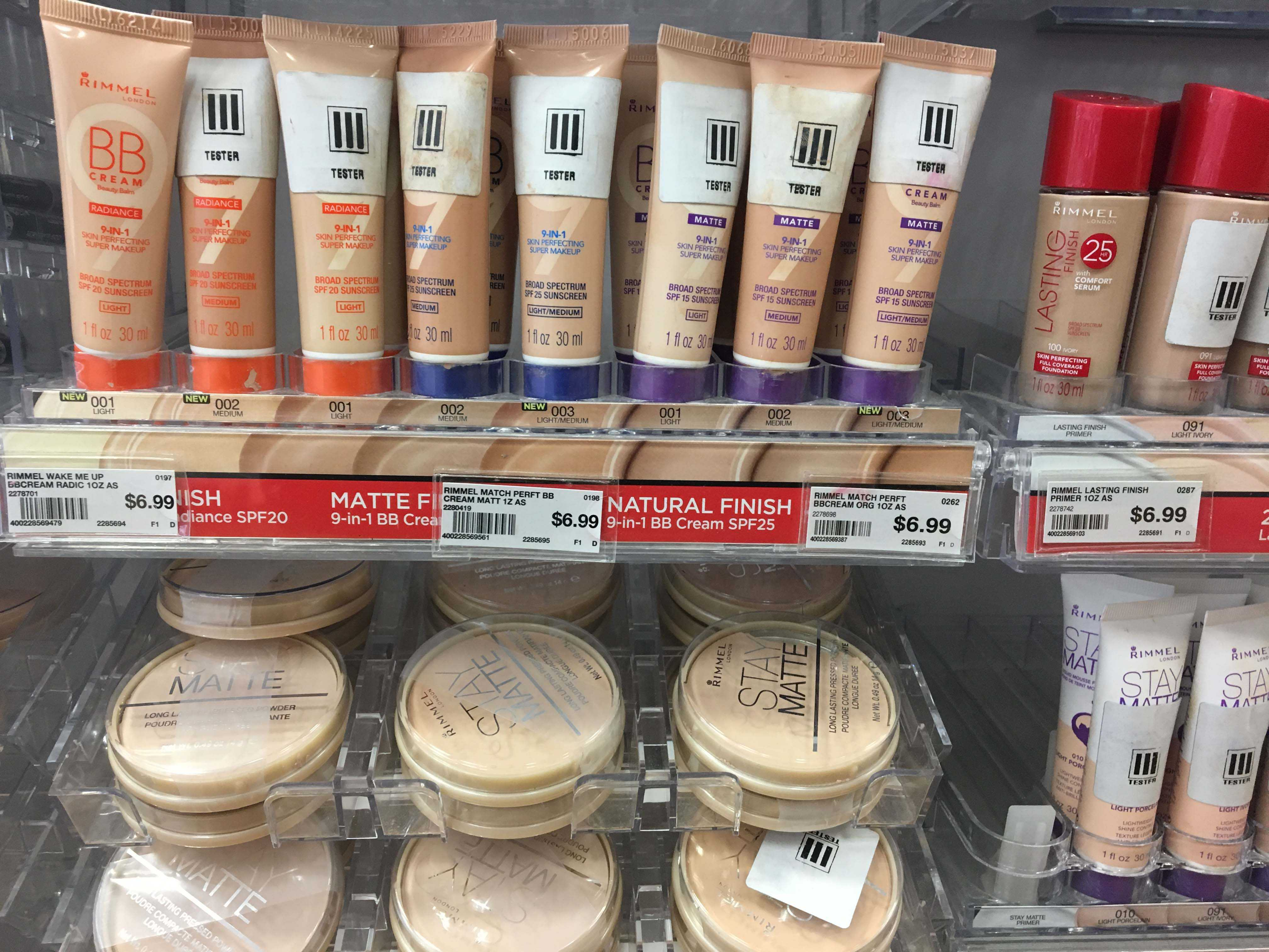 Pictured above is a line of Rimmel BB Cream, which all are in a similar shade and no options for darker skin tones.