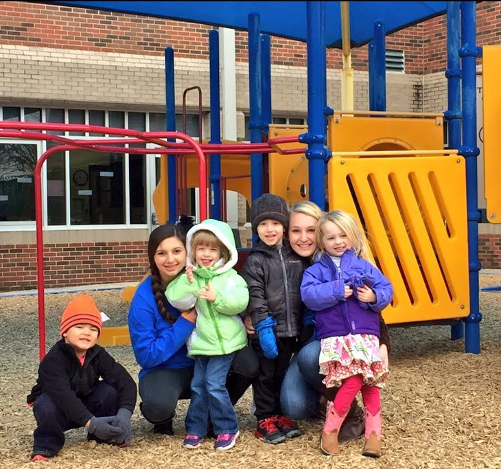 Playing+with+preschool+students%2C+juniors+Alex+Arkwright+and+Allison+Knubowitz+use+the+skills+they+learned+in+their+Education+and+Training+class.