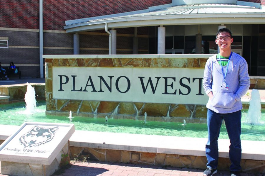 Newly+elected+Junior+Class+President+%28JCP%29+Michael+Lam+poses+for+a+photo+in+front+of+the+Plano+West+fountain.